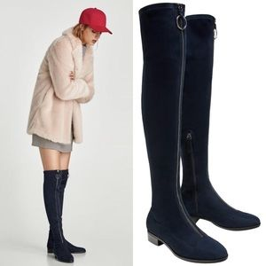 NWT Zara Navy Suede Effect Over the Knee Boots